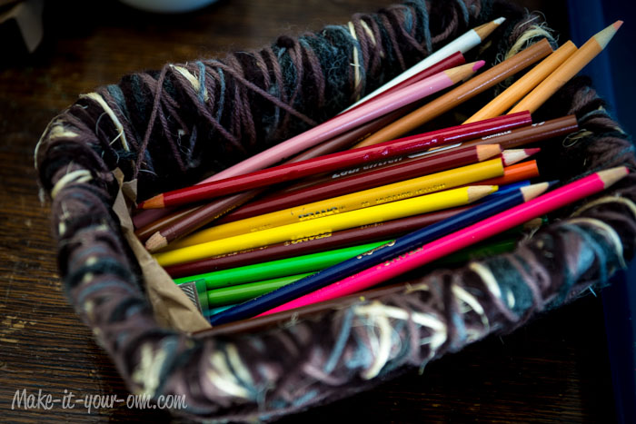 Pencil Crayons in a Bird's Nest Storage Basket