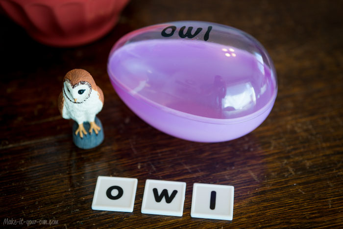 Re-using Filler (Easter) Eggs for Spelling/Building/ Making Words: Owl Example
