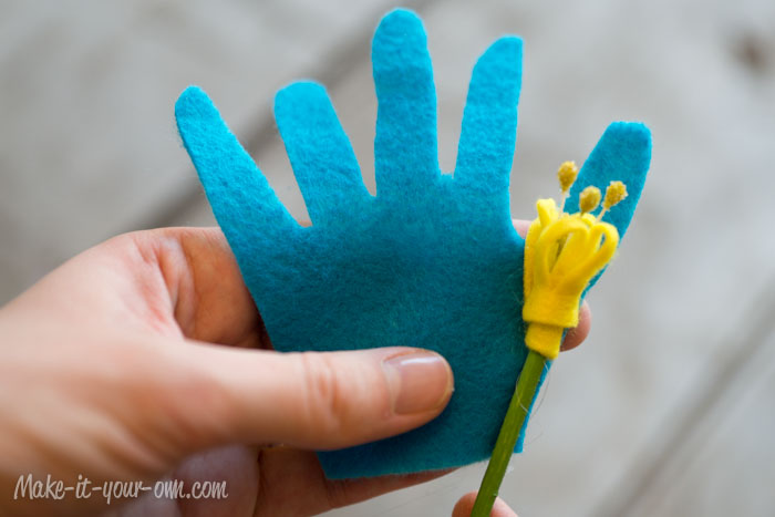 Handprint Bouquet: attaching petals step, Mother's Day