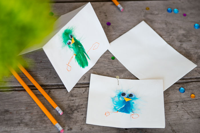 Bird Feather Cards- perfect for a Spring or Easter Craft