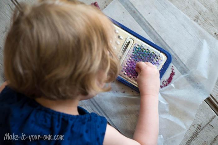 Sun Catcher Peacocks: Grating Crayons