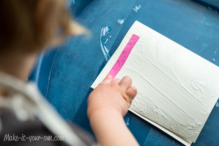 Birthday Card with Tissue Paper Candles: Laying down the strips