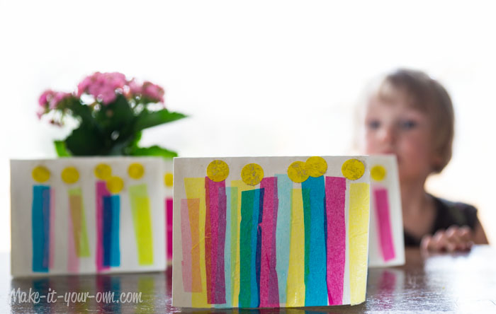 Birthday Card with Tissue Paper Candles