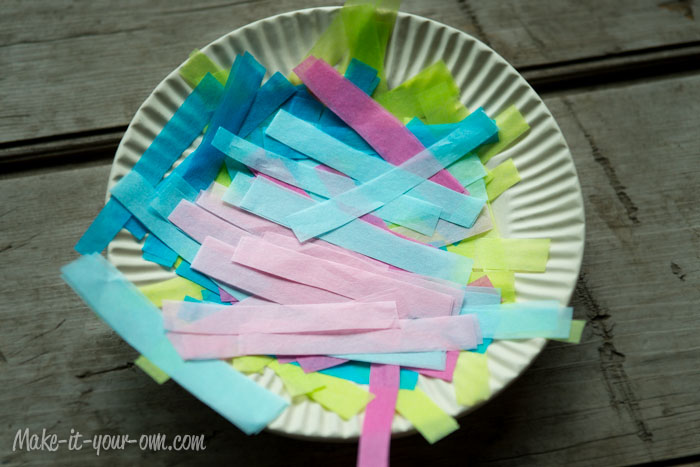 Birthday Card with Tissue Paper Candles: Tissue Paper Strips