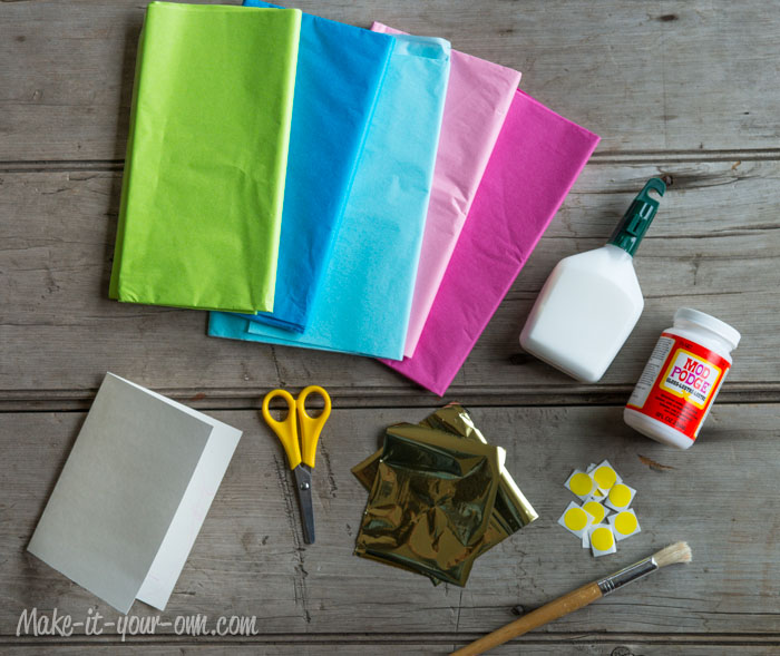 Birthday Card with Tissue Paper Candles: Materials