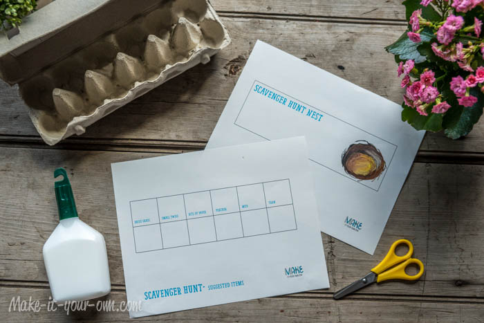 Scavenger hunt nest for Egg carton labels template