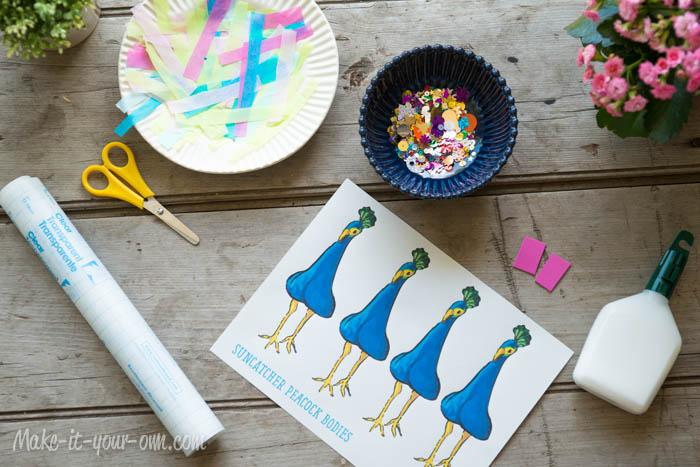 Sun Catcher Peacocks: Method B Supplies