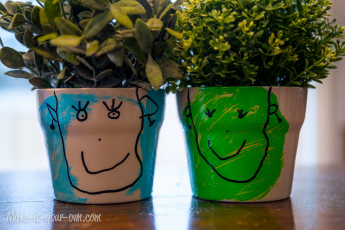 Finished Character Flower Pots make-it-your-own.com