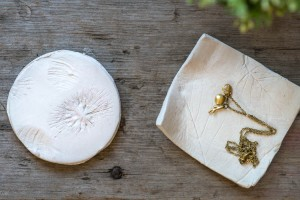 Nature Imprints (with leaves, sea shells, twigs) to make keepsakes (coasters, dishes etc.) from make-it-your-own.com