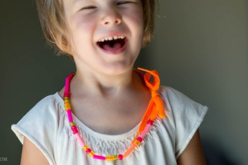 Shoelace & Straw Bead Necklace from make-it-your-own.com
