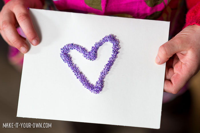 Valentine Heart Beaded Cards from make-it-your-own.com (Activities & Crafts for Kids)