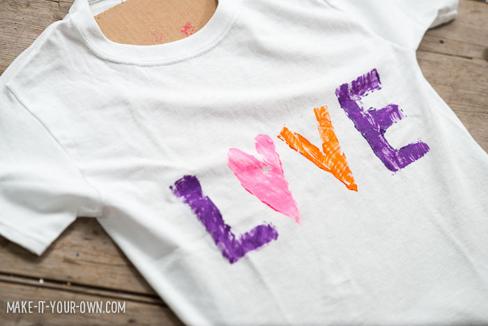 Valentine's Day Cardboard Stamped T-shirts from make-it-your-own.com (Crafts & Activities for Kids)