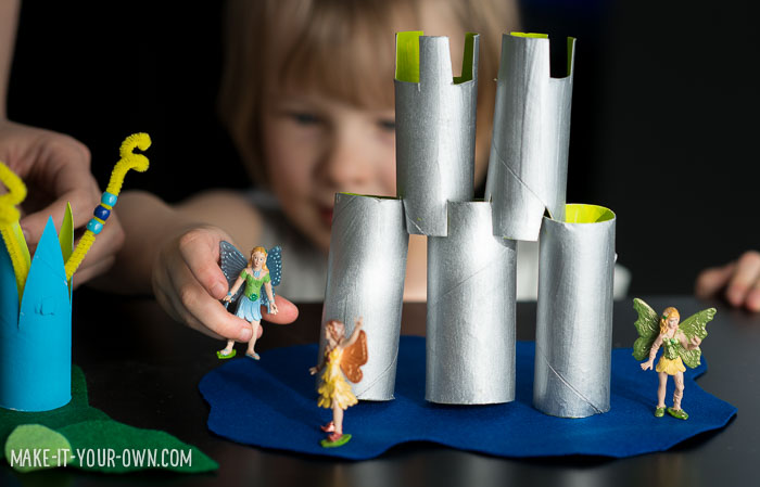 Recycled Pretend Playscapes (with paper rolls).  Wouldn't this be a great play prop for Spring Break!?!