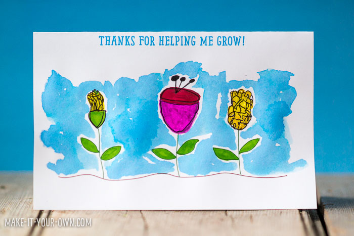 School wrap up flower thank you card for Thank you crafts for teachers