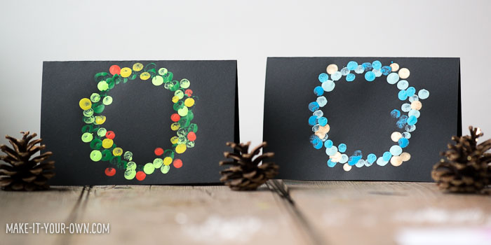 Finger Painted Wreath Cards with make-it-your-own.com (Creative activities for kids!)