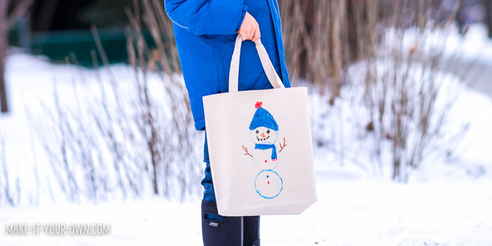 Kid-made Snow Person Tote Bag from make-it-your-own.com (Creative activities for kids)
