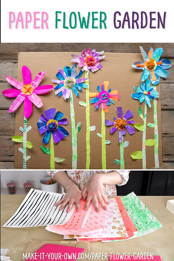 Are you excited for spring?!  This collage project shows you how children can use textured paper and recyclables to create a one of a kind paper flower garden!  This is a great collaborative art piece, particularly if you are studying the illustrations of Eric Carle.