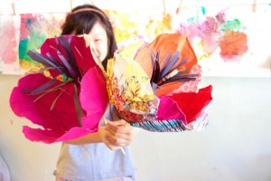 Fabric flowers with The Purple Fig
