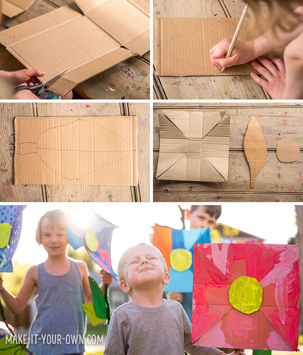 Recycled Cardboard Flowers with make-it-your-own.com (Creative activities for kids)  Go out into nature and use it as an inspiration point for these giant, easy to make blooms. (Perfect for a toddler or pre-schooler!)