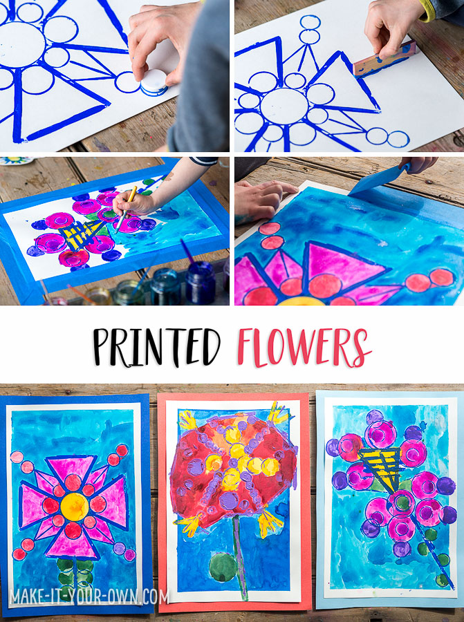 Printing with Recyclables: Flowers with make-it-your-own.com for Let's Lasso the Moon.  Use items from your recycling bin, along with 2 types of paint to create these floral beauties!