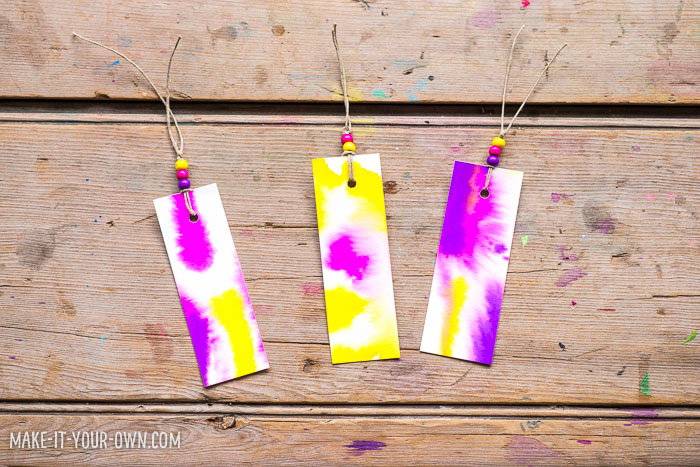Tie Dye Watercolour Bookmarks:  This simple activity produces beautiful results and would be perfect for summer reading or making a back-to-school bookmark!