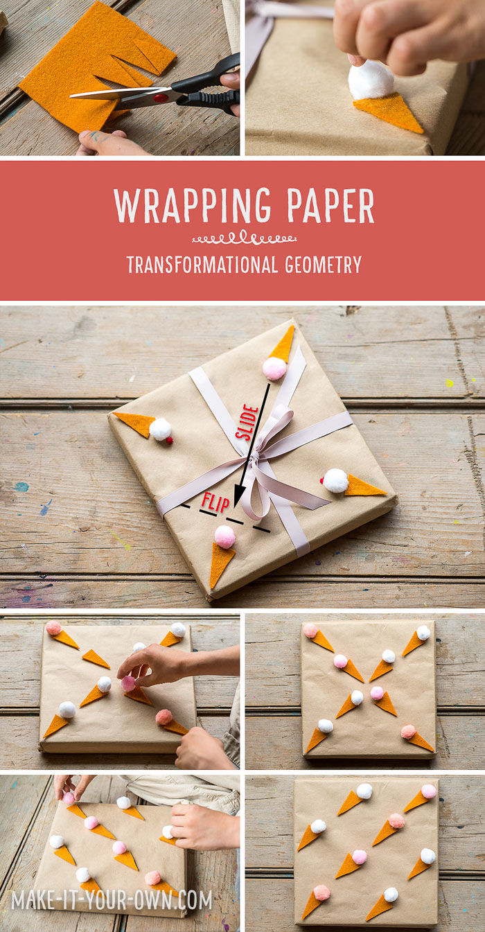 DIY wrapping paper using transformational geometry to create designs with make-it-your-own.com (Creative activities for kids!) This project uses slides (translations), flips (reflections) and turns (rotations) to create patterns.