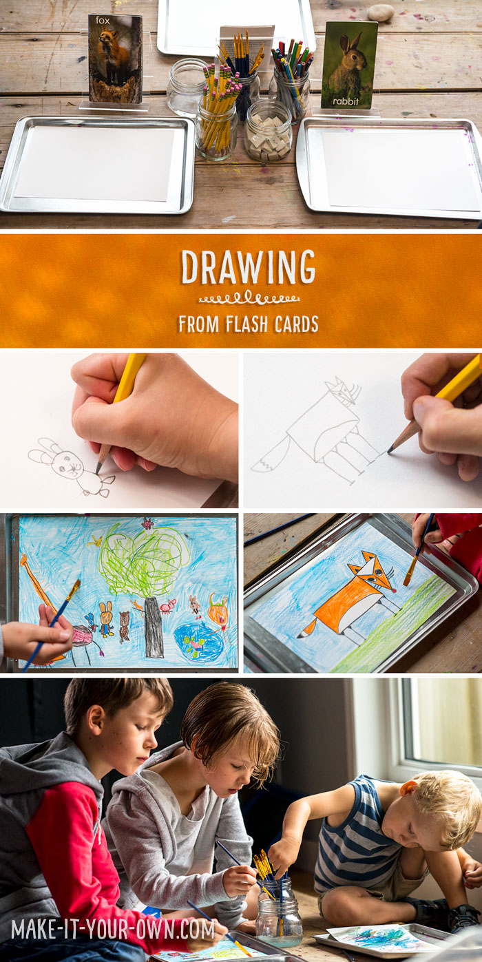 Drawing from Flashcards using Watercolour Pencil Crayons