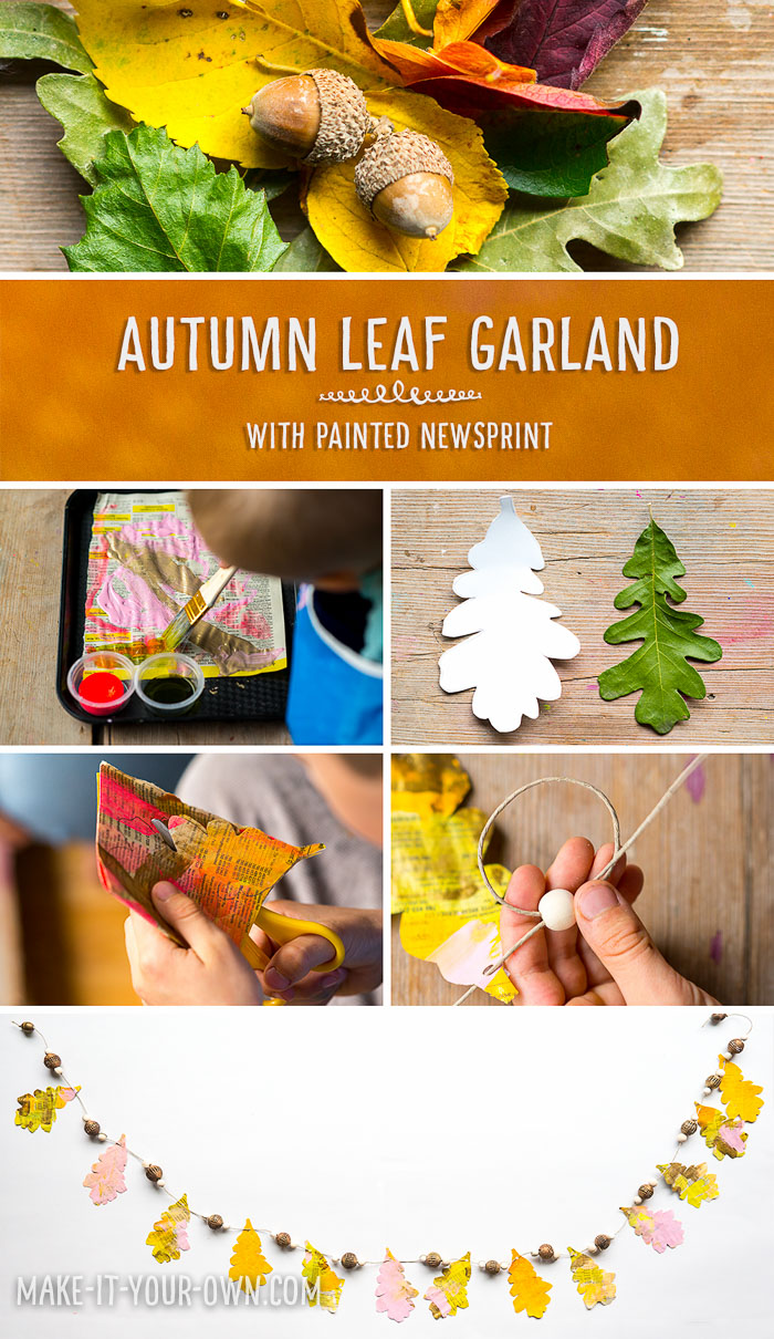 Painted Newspaper Leaf Garland.  This Fall beauty is inspired by collecting bits of nature with a real oak leaf giving the shape of the leaves.  (And who doesn't like an inexpensive project that re-uses a phone book or newspaper!?