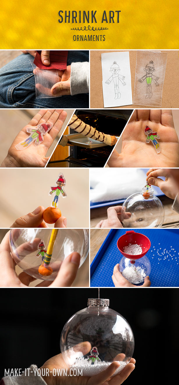 Shrink Art Snow Globe Ornaments:  Children can make these unique ornaments by drawing themselves inside a snowy setting!