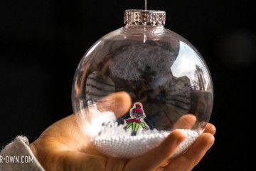 Shrink art snow globe ornament! This individualized Christmas ornament incorporates children's drawings for a keepsake holiday gift!