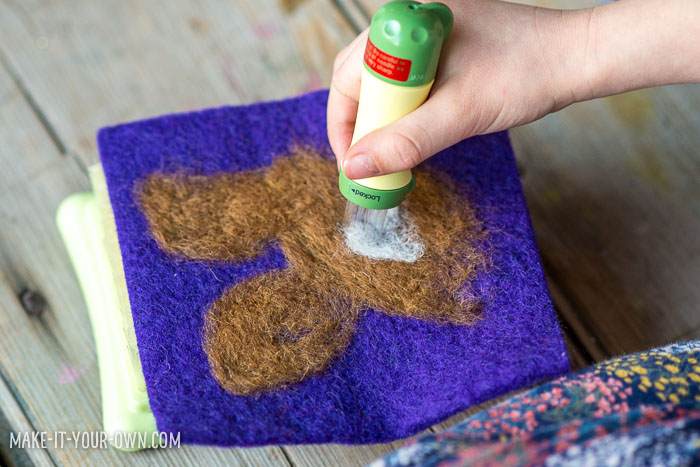 Felted Bunny Portrait:  We show you a few tools and techniques to make this process easy for kids
