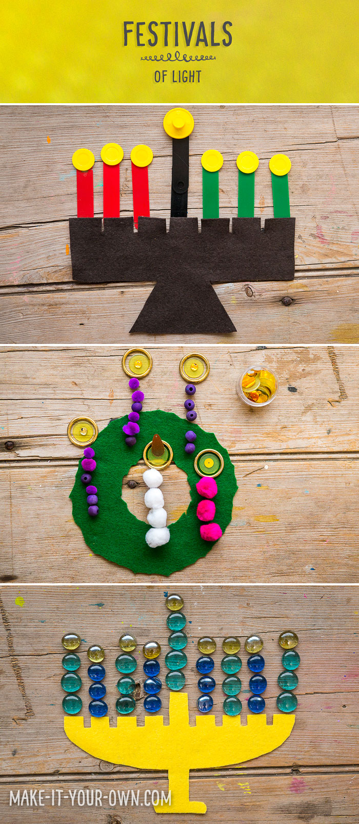 Festivals of Light:  We provide a template for you to create an Advent wreath, Menorah & Kinara with loose parts!