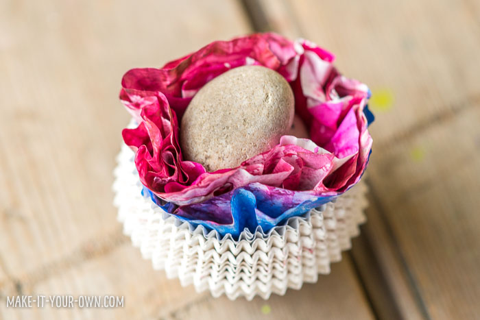 Spherical Valentine Flowers made with coffee filters and cupcake liners!