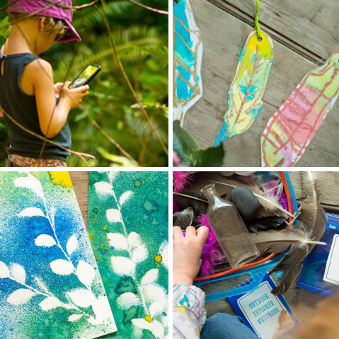 Nature Inspired Kid Projects (photo scavenger hunt, traced feather bookmarks, spray painting over nature to create negative images and making your own outdoor explorer kit (with free printables!)