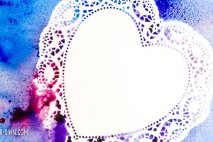 Spray Painted Hearts: Need a last-minute painting experience? Paint over doilies to create this negative space image.