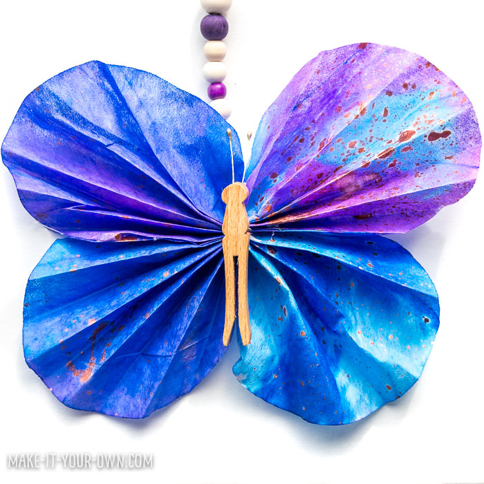 "Butterfly Wall Hanging:  Use coffee filters to create these whimsical butterflies to dress up your wall.  Connected to the children's book: ""Waiting for Wings""."