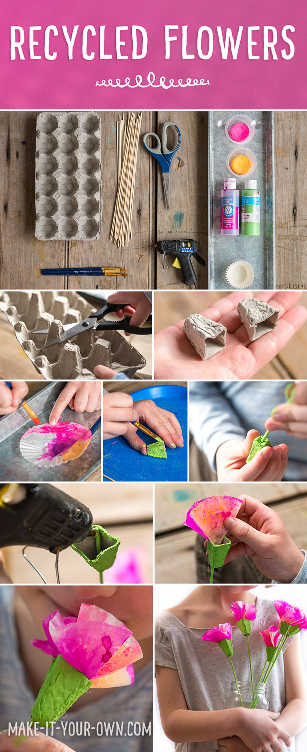 Recycled Watercolour Flowers:  Use egg cartons and cupcake liners to create these blooms for spring!