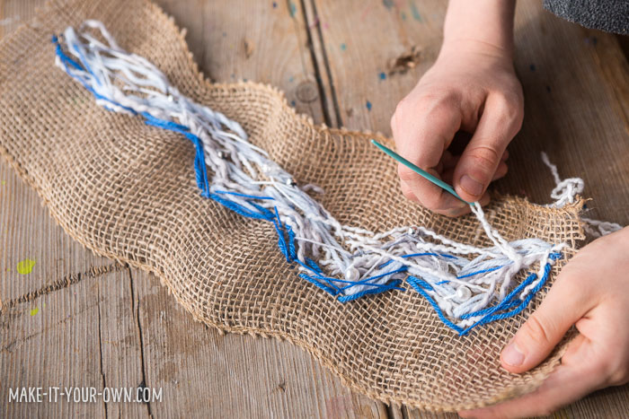 Sew a wave: Create a wave sewing on burlap, inspired by The Great Wave Off Kanagawa