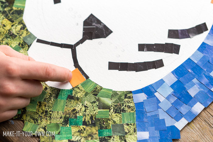 Magazine Mosaics:  Re-use old magazines to create magazine tile pieces to create an image!