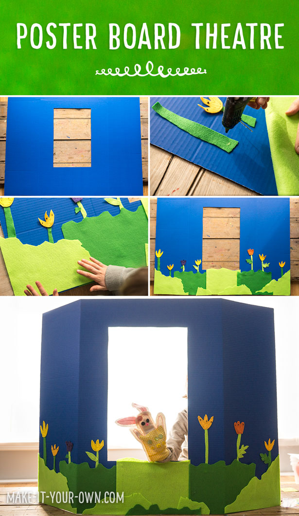 Presentation Board Theatre: Create this DIY theatre for at home or in the classroom to accompany puppets for easy, dramatic play!