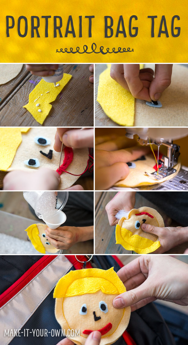 Create a portrait bag tag for back to school!