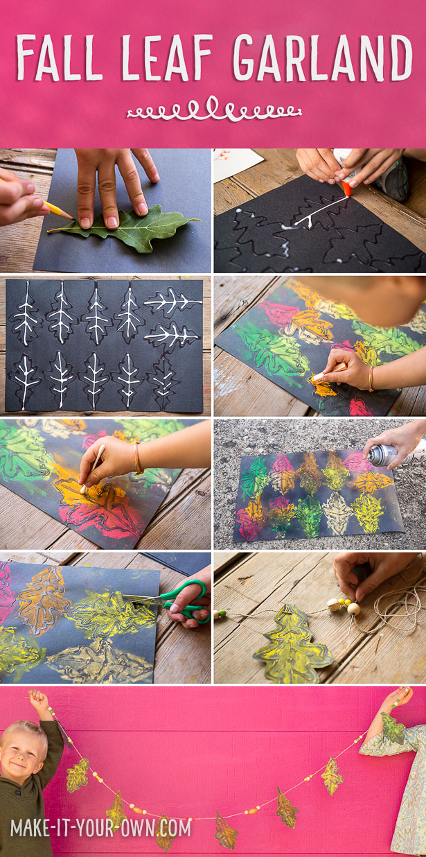 Fall Leaf Garland: Using found leave and chalk pastels against black paper for bold, child-made fall decor!