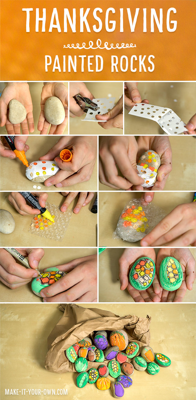 Make a painted rock cornucopia for Thanksgiving!