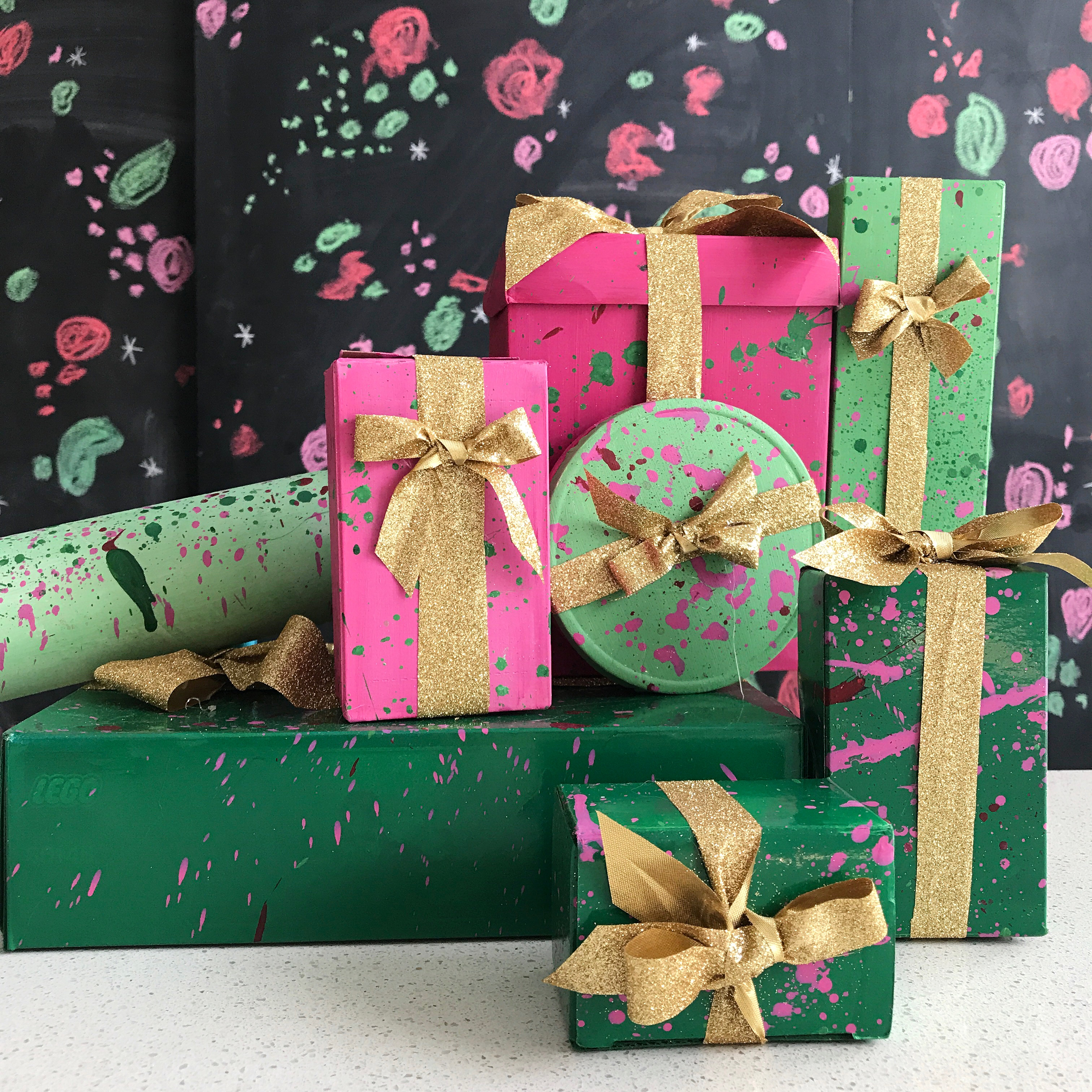 Splatter Painted Gift Boxes from Handy With Scissors!  Make these recycled beauties from items you may have a home!