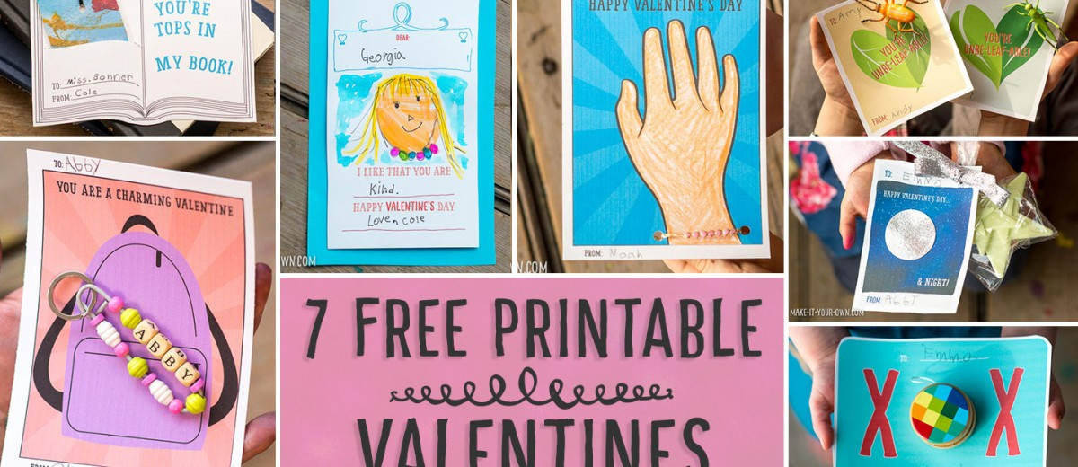 7 Free Printable Valentine's Day cards!