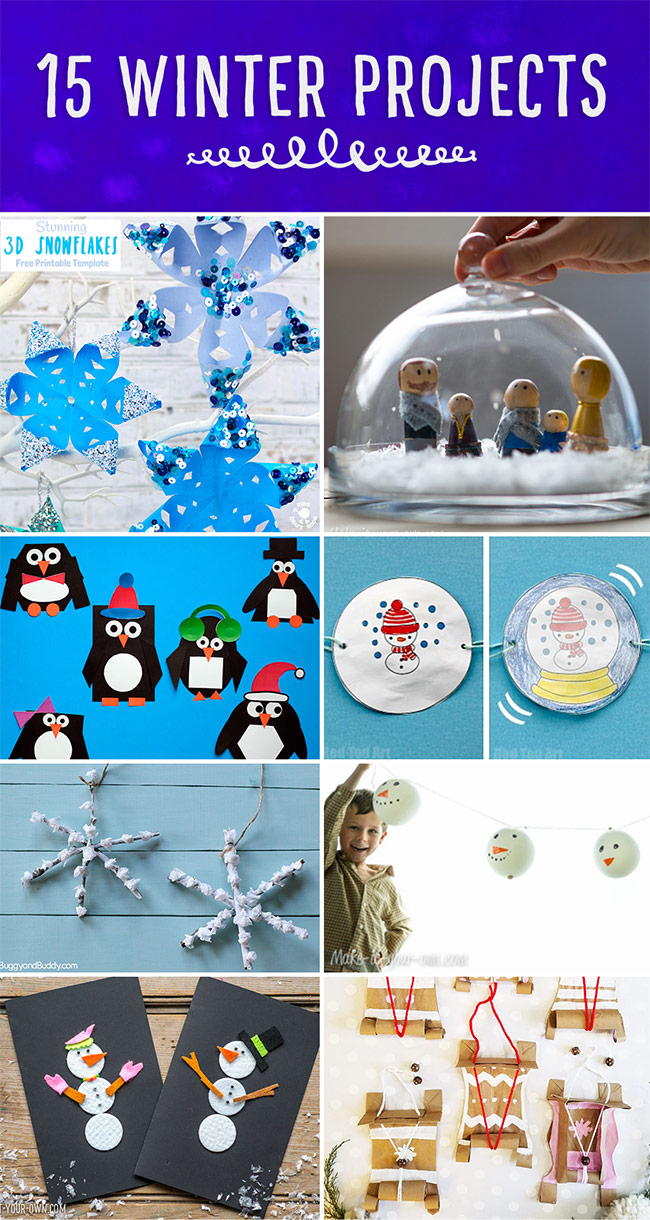 15 Winter Projects:  Art and craft ideas for kids!