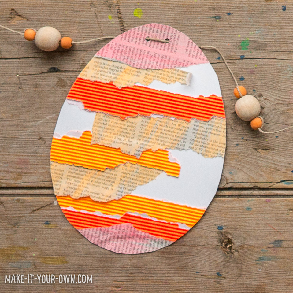 Collage Easter Eggs:  This recycled Easter craft uses coffee cup sleeves, newspaper and magazines to create beautiful Easter eggs!