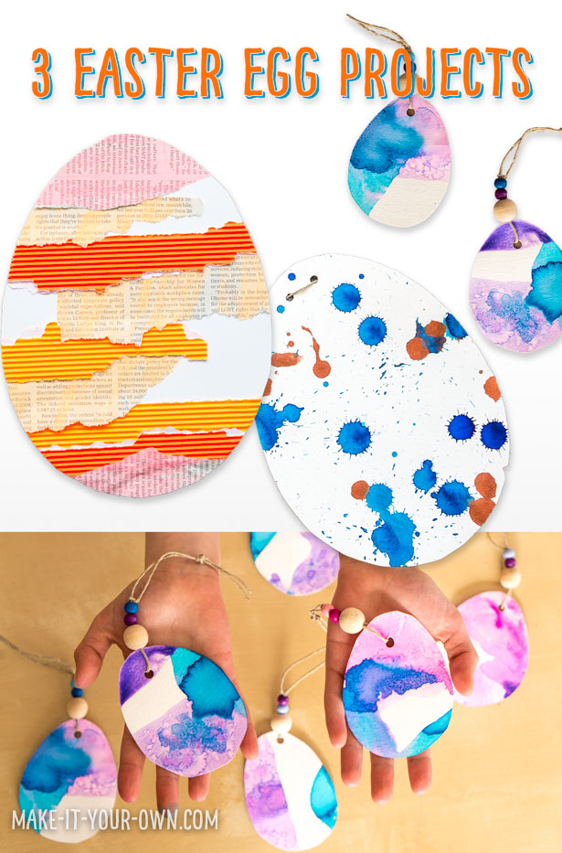 These 3 Easter egg ideas:  Collage, drip drop painting and dipped in paint give kids of all ages a variety of creating experiences!