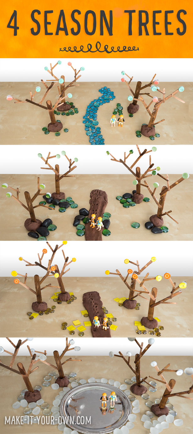 Four Season Play Trees:  Make these interchangeable trees for small world play that use buttons for spring, summer, fall & winter