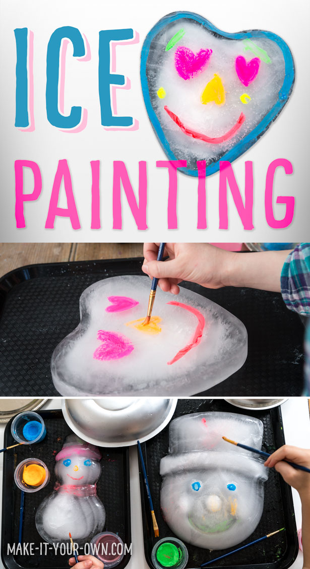 ICE PAINTING: Use cake molds to create ice shapes for kids to paint!  Perfect for summer outside or indoors on a rainy day, this gives children a different surface to paint on and a challenge to paint it before it melts!